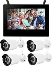 Wireless Camera 10in 1.3MP HD Wireless WiFi Baby Monitor 4 Cameras Smart DVR Home Security System Baby Monitor