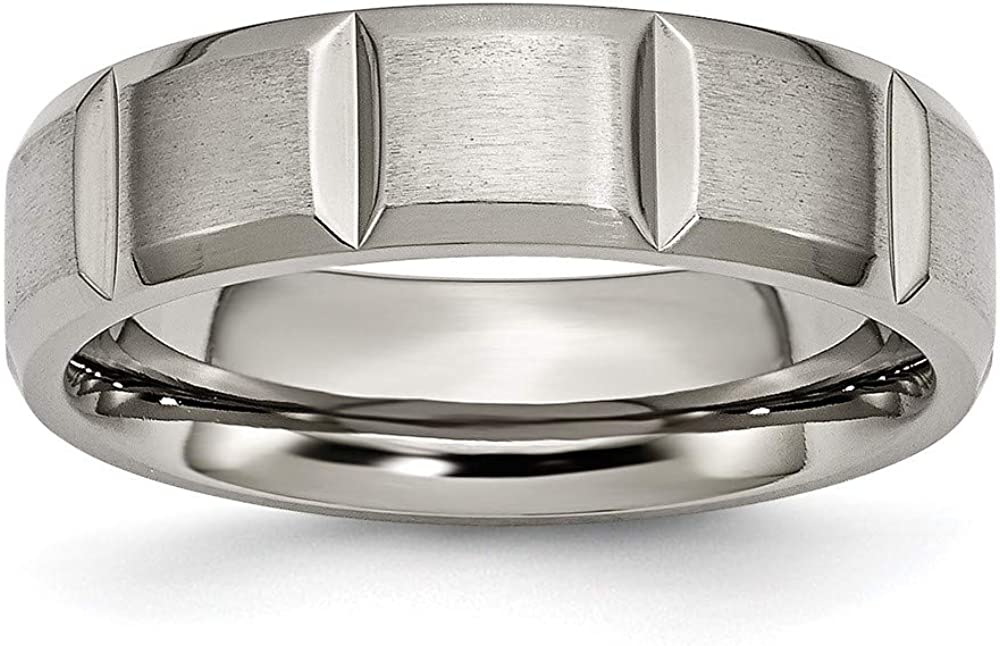 ICE CARATS Titanium 6mm Grooved Wedding Ring Band Fashion Jewelry for Women Gifts for Her