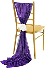NNBX Sequin Chiffon Long Chair Skirt Tutu Tulle Sach Chair Cover or Table Runner for Party Sinple Wedding Decoration (Purple)