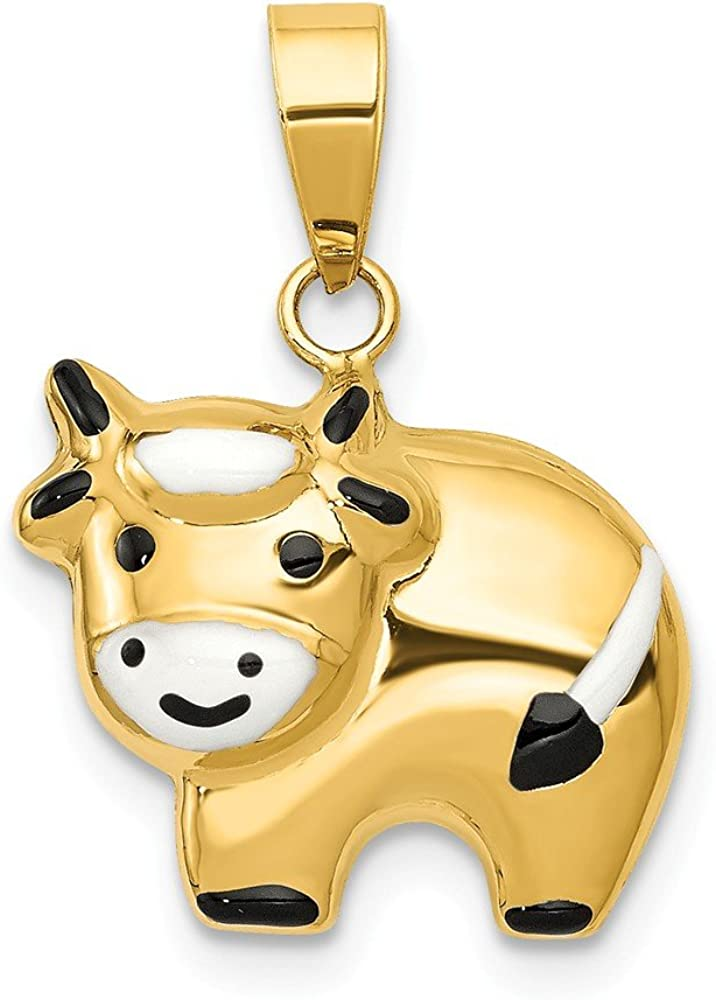 14k Yellow Gold Enameled Cow Charm Pendant - 19mm x 15mm