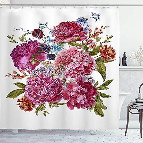 Alvaradod Cortina de la Ducha,Ramo de Flores de Verano Suave con peonías Burdeos,con 12 Ganchos de plástico Cortinas de baño Decorativas 72x72 Pulgadas