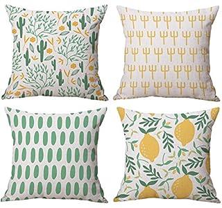 Funda de cojín de Cactus con diseño de limón, Juego de 4 Fundas de cojín de algodón y Lino para Coche, Decorativas, para sofá o Dormitorio, 45 x 45 cm