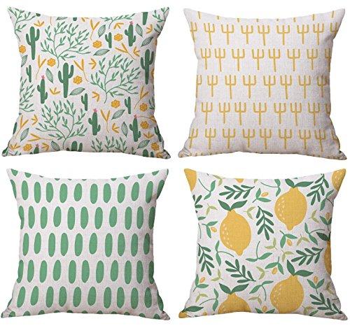 Freeas 4 Pack Summer Cactus Lemon Cotton Linen Decorative Cushion Pillowcase Case for Pillow 45x45cm