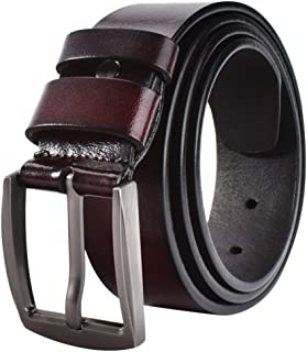JY_shop Men's Belt, Men's Reversible Classic Dress Belt Top Bulliant Leather Dress Belt with Single Prong Buckle