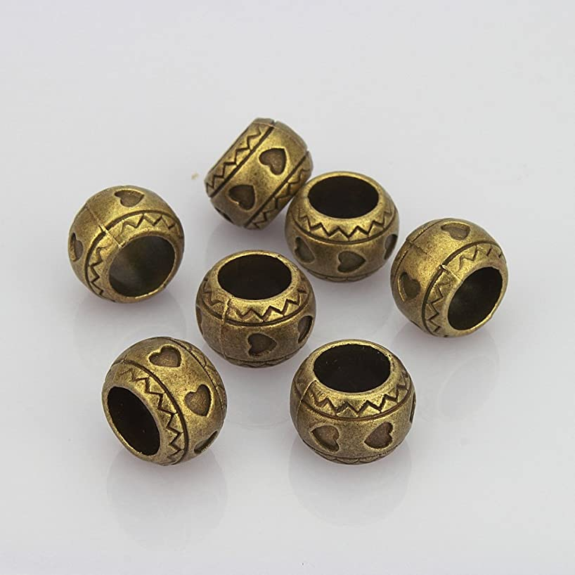 LolliBeads (TM) Jewelry Making Antique Brass Bronze Vintage Style Round Bead Charm with Large Hole ~Heart Shaped~ (30 Pcs)