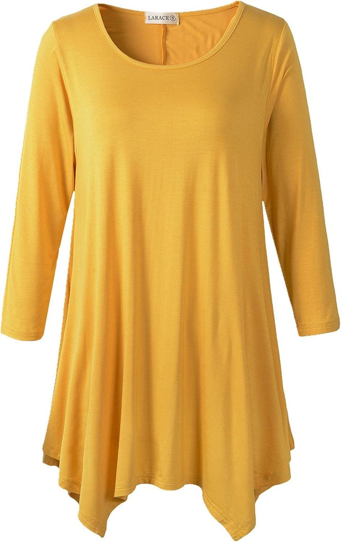 Lanmo Women Plus Size 3 4 Sleeve Tunic Tops Loose Basic Shirt