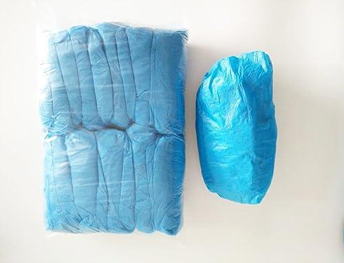 Lot de 50 paires de couvre-chaussures jetables - en polyéthylène chloré bleu - 2,5 g x 100