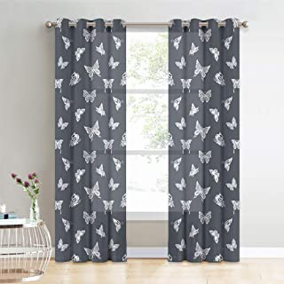 KGORGE Print Privacy Semi Sheer - Natural Vintage Window Curtains Decor, Light Airy Winkle Free Voile Drapes for Patio Sliding Glass Door Living Room Kids Nursery, 52 x 84 inches, Grey, 2 Panels