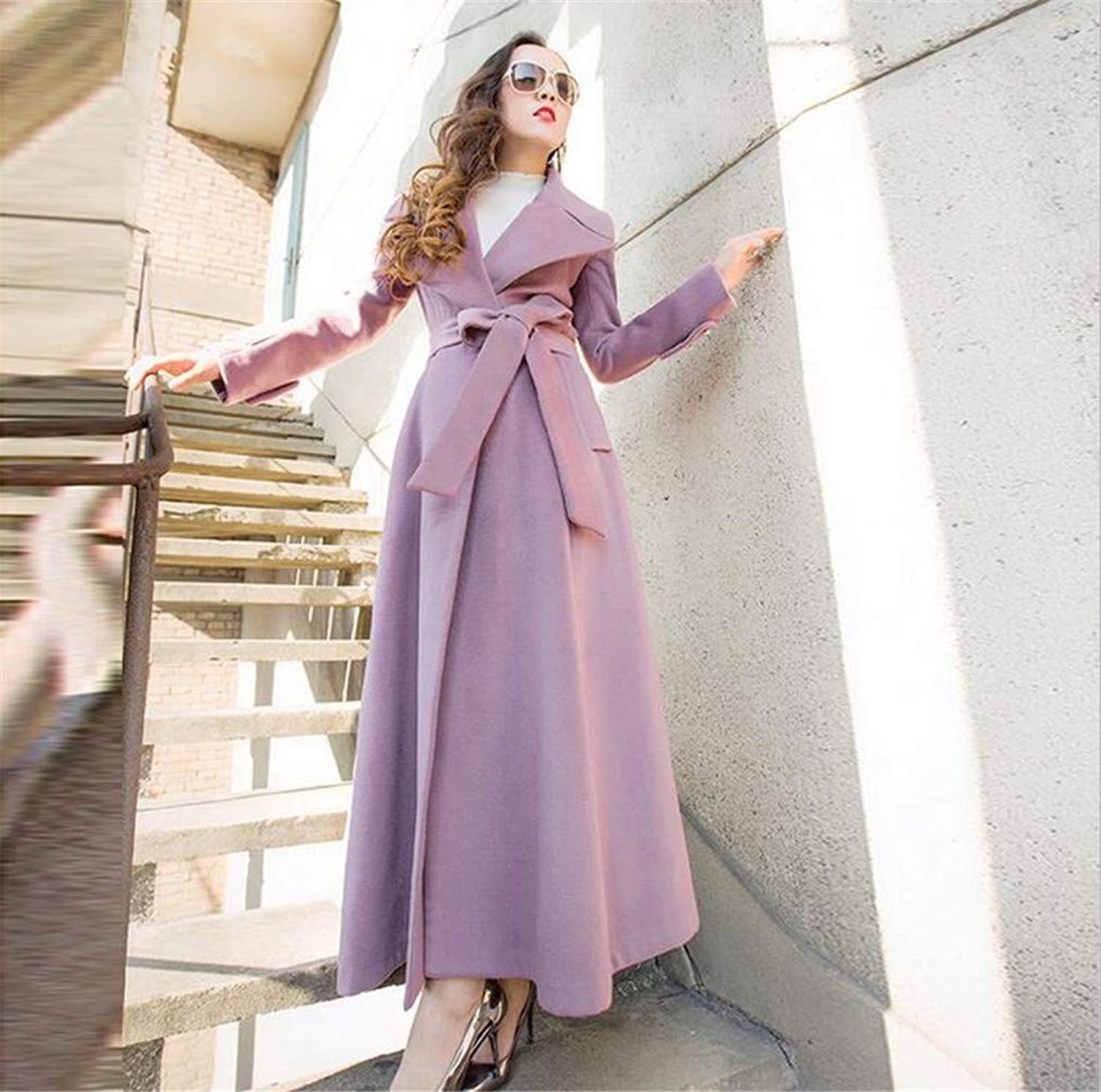Women's Cashmere Coat Jacket, Europe and America Pink Winter Wool Wool Keep Warm Thicken Slim Fit Long Section Coat