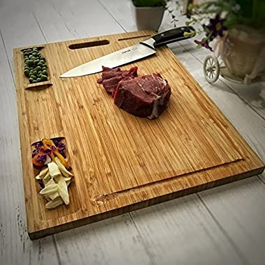 Venfon Large Organic Bamboo Cutting Board For Kitchen, With 3 Built-In Compartments And Juice Grooves, Heavy Duty Chopping Board For Meats Bread Fruits, Butcher Block, Carving Board, BPA Free