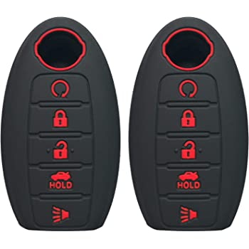 rose red KAWIHEN Silicone 4 buttons Keyless Entry Smart Remote Key Fob Cover Protector For Nissan 350Z 370Z Altima Armada GT-R Leaf Pathfinder Rogue Sentra Maxima Murano Versa CWTWB1U840 285E3-3SG0D