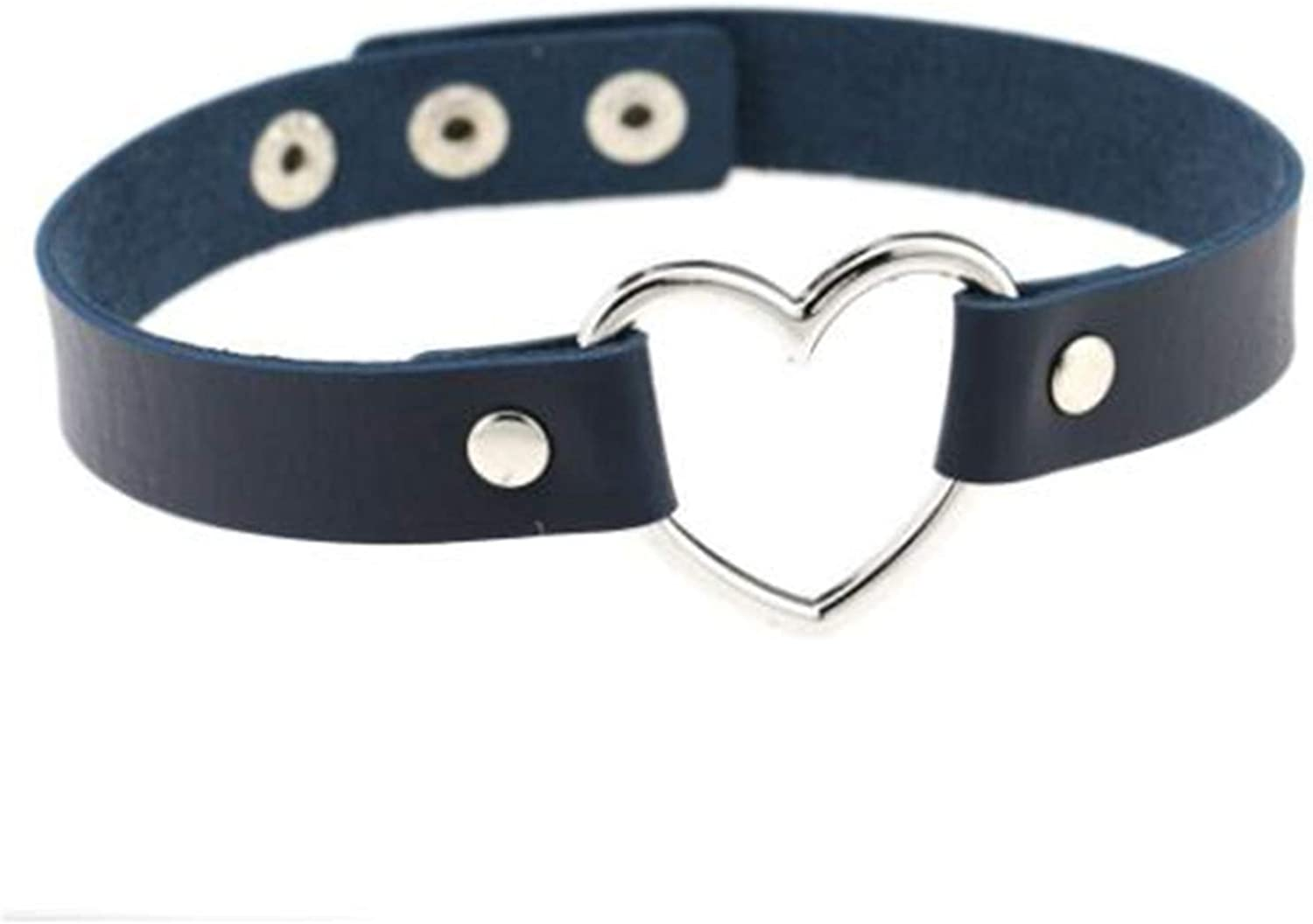 Bigsweety Punk Heart Charm PU Leather Collar Choker Necklace Adjustable