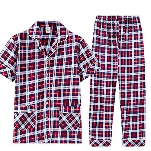Pijamas de manga larga Verano 100% algodón Conjunto de pijamas de manga corta para parejas Cuello vuelto Casual Tallas grandes M-3xl Pijamas para amantes Camisas cortas + Pantalones largos L Mujeres