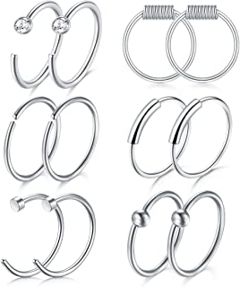 vcmart 22G 316L Stainless Steel Nose Rings Hoop Tragus Cartilage Helix Ring Lip Septum Piercing 8MM