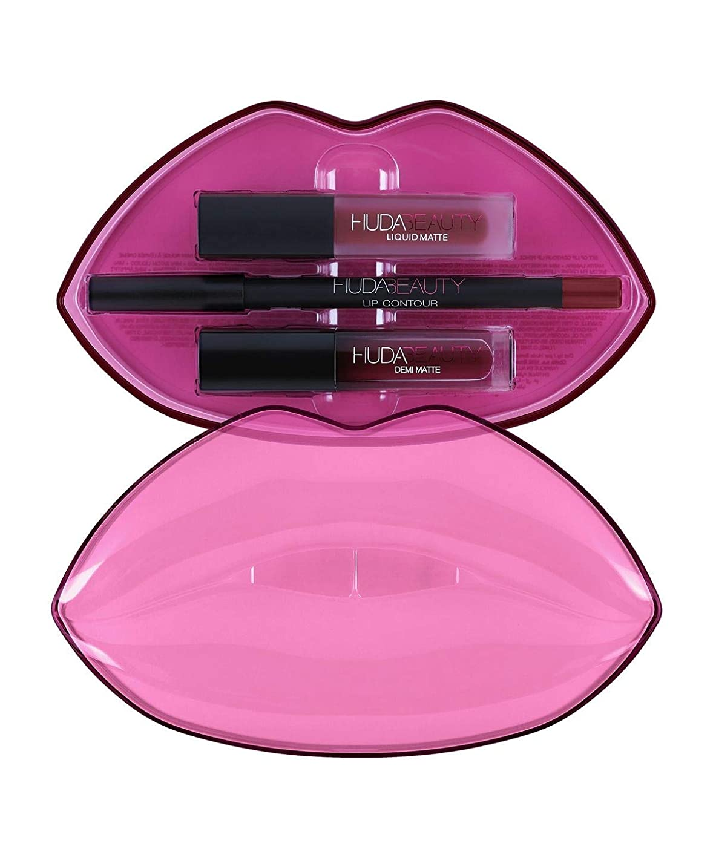 攻撃的ステッチ廃止するHUDABEAUTY フーダビューティ リップ Demi Matte & Cream Lip Set Bawse & Famous