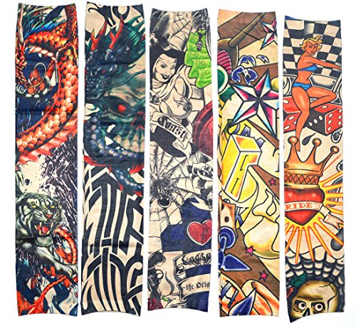 10 Pz Falso Tatuaggio Temporaneo Maniche Corpo Crema Solare Arte Calze Accessori, Tribal, Drago, Disegno del Cranio ed ECC.