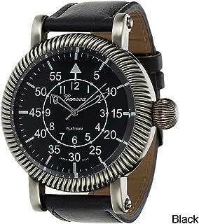 Geneva Platinum Men's Faux Leather Vintage Watch