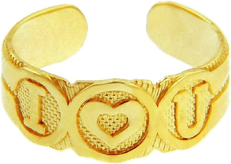 14k gold  I Heart U  Toe Ring