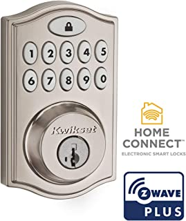 Kwikset 99140-023 SmartCode 914 Traditional Smart Lock Keypad Electronic Deadbolt Door Lock With SmartKey Security and Z-Wave Plus, Satin Nickel
