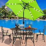 NBVCX Life decoration Sunshade sunshade umbrella <span class='highlight'><span class='highlight'>Britoniture</span></span> 2.7M Garden LED Parasol Sun Shade Outdoor Solar LED lights Umbrella Crank and Tilt Mechanism Grass Green