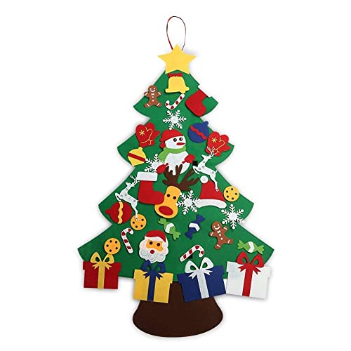 5642e2d1 ASSIS New Generation 3FT Felt Christmas Tree Set with Ornaments - Wall  Hanging