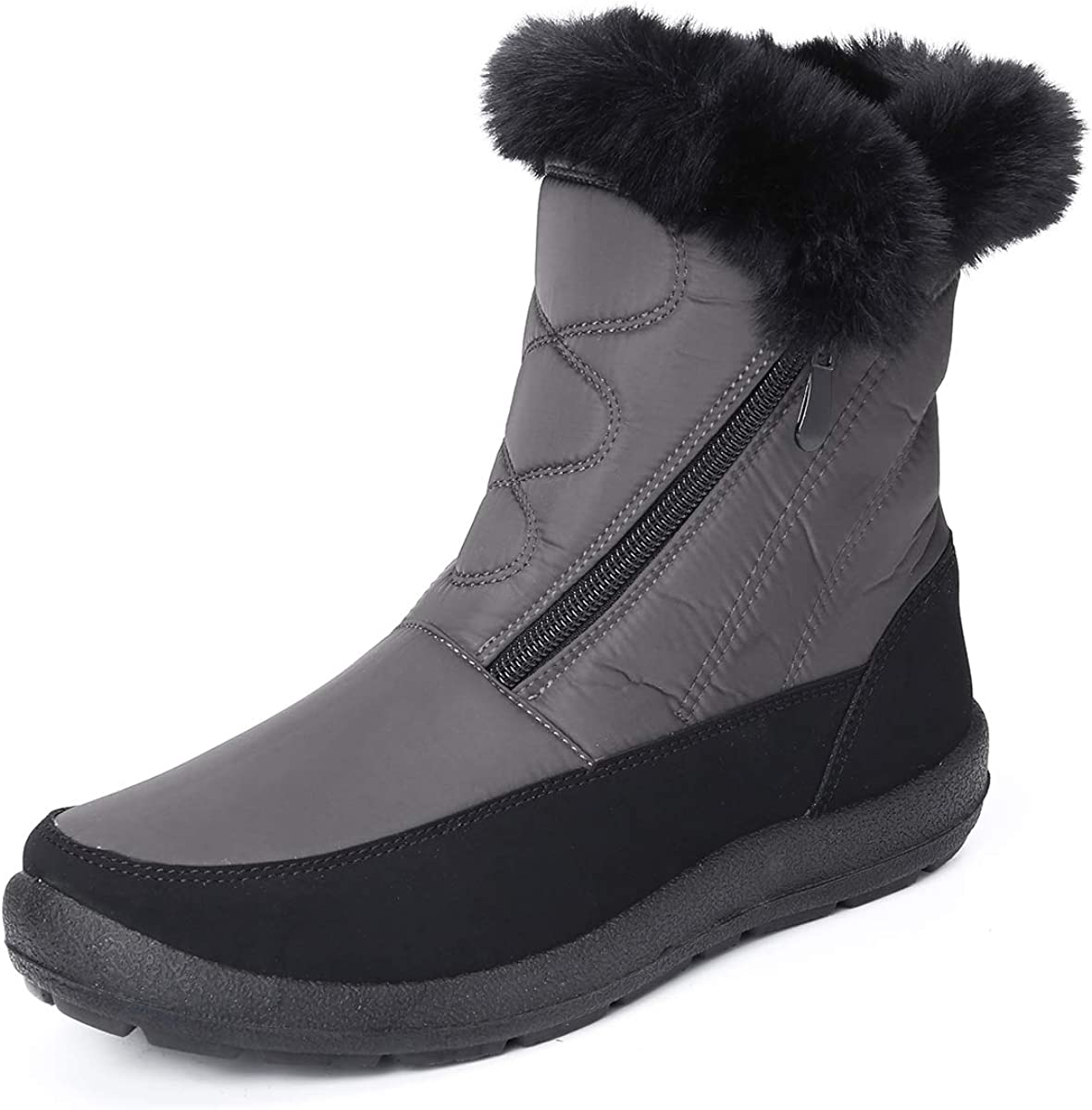 gracosy Snow Boots for Women, Warm Ankle Boots Waterproof Outdoor Slip On Fur Lined Winter Short Booties Anti-Slip Comfort Zipper Large Size Shoes