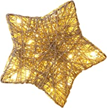 Rotan ster verlichte geweven tafellamp: LED beige ster decoratieve lamp kerst tafellamp nachtlampje USB aangedreven sfeerv...