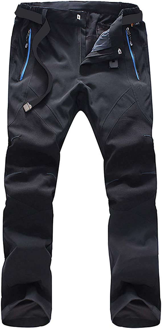 SUKUTU Pantalones Forrados con Forro Polar a Prueba de Agua para Hombre Pantalones Ligeros Transpirables de Secado r/ápido Pantalones de Escalada
