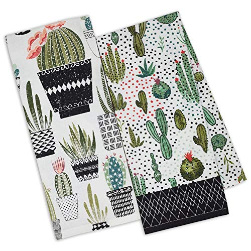 DII Urban Oasis Printed Dish Towels Kitchen Set of 2 Cactus 18' by 28'