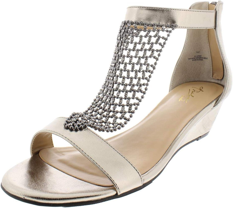 Thalia Sodi Womens Tibby Evening T-Strap Wedge Sandals Silver 9 Medium (B,M)