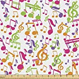 Ambesonne Music Fabric by The Yard, Inspirational Sound Vibes Theme Sonic Rhythm Melody Cheerful Musical Notes Print, Decorative Fabric for Upholstery and Home Accents, 3 Yards, Green Blue