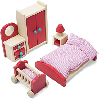 Cozy Family Master Bedroom Accessories Children's Playset   Wooden Wonders Premium, Colorful Dollhouse Furniture for 4-inch Toy Dolls   Includes Dresser with Mirror, Wardrobe, Nightstand, and Lamp