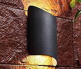RXT Luz de Pared LED Redonda Material de Aluminio Impermeable Luz de Arriba y Abajo Luz de Pared para decoración de jardín al Aire Libre (Negro 10 Piezas)