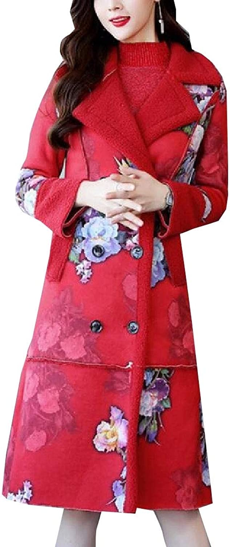 Maweisong Women's Leopard Printed Sheepskin Faux Suede Shearling Outwears Jacket