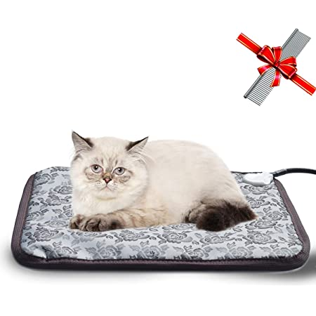 EACHON Heating Pad for Dogs Cats Electric Heated Pet Beds Mat with Timer Warming Pet Mats Safety Dog House Heated Waterproof Heated Dog Cat Blanket Heated Bed Pad Mat wifh Free pet Comb XL