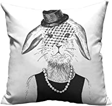 YouXianHome Throw Pillow Cover for Sofa Pearls and Vintage Hat Comic Cute Retro Bunny Graphic Black White Textile Crafts (Double-Sided Printing) 12x16 inch