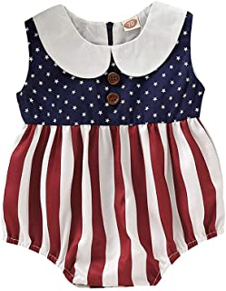 Infant Baby Boys&Girls Romper Jumpsuit Independence Day Bodysuit Stars Striped US Flag Patriotic Outfits