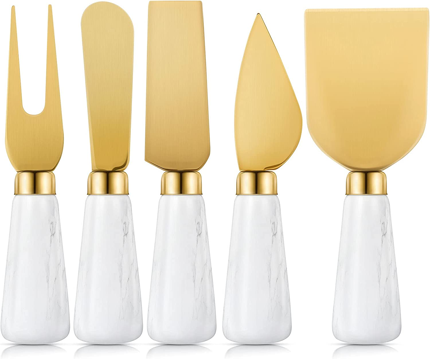 5 Pieces Gold Cheese Knives Set Cheap mail order specialty store Co wholesale Steel Stainless