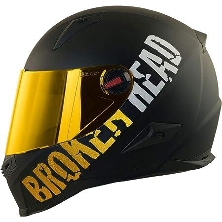 Broken Head Beproud Gold Schlanker Motorradhelm Mit Goldenem Zusatz Visier Matt Schwarz Größe L 59 60 Cm Auto