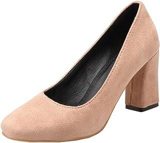 KemeKiss Women Spring Classic Square Toe Pumps Slip-on Block Heel Dress Shoes