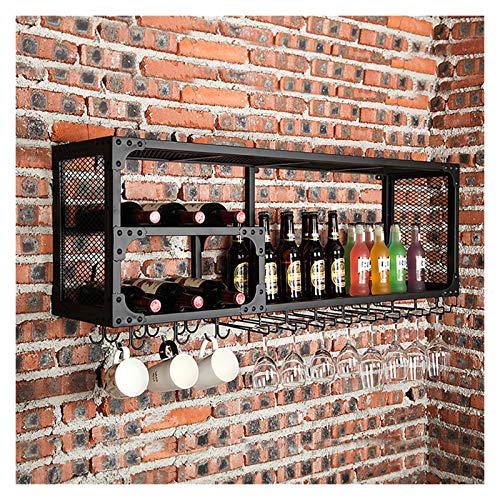 WWZWJ Botellero de pared con soporte para cáliz/taza, estilo industrial, hierro forjado, estante de almacenamiento para decoración de vino, apto para restaurante/bar/hogar (tamaño: 60 x 30 x 45 cm)