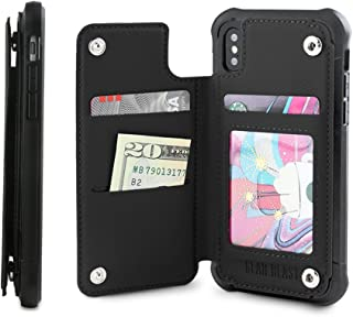 Gear Beast PU Leather Top View Wallet Case Fits iPhone Xs/X Includes Flip Folio Cover, with Three Card Slots Including Transparent ID Holder and Military Grade Protective Case