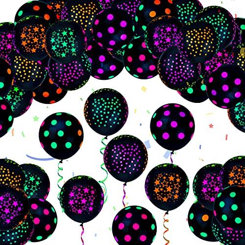 100 Paquetes Globos de Patrón de Insectos de Mariposa de 12 Pulgadas Globos de Látex Multicolor para Decoración Favores de Fiesta Navidad Halloween Boda (Estilo de Punto Fluorescente)