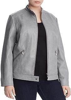 Bagatelle Women's Plus Size Faux Leather Full Zip Moto Jacket