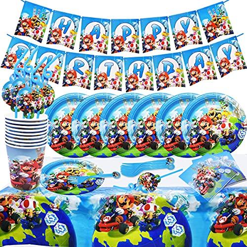 Juego de fiesta de cumpleaños 62 piezas Juego de fiesta Super Mario Platos Tazas Servilletas Cubiertos Banner Mantel Vajilla de cumpleaños Kit de decoración, para niños Fiesta de cumpleaños