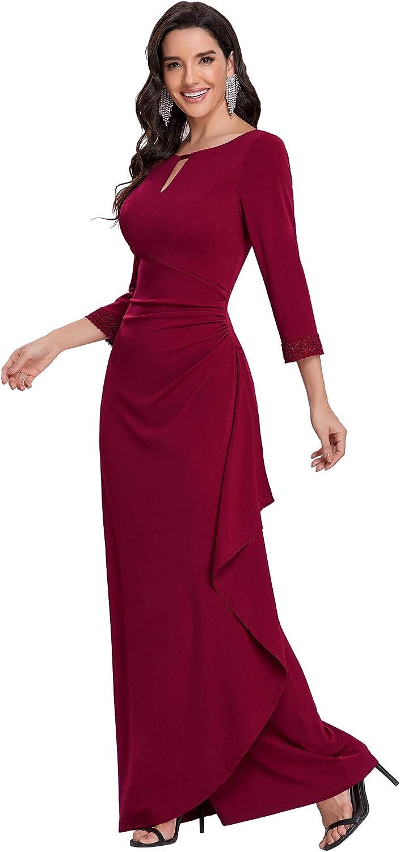 Ever-Pretty Womens Long Sleeve Pleated Bodycon Mermaid Formal Dress 0132