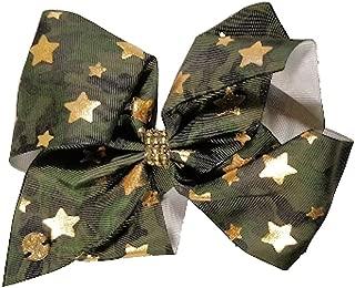 JoJo Siwa Large Cheer Hair Bow (Green Camo Stars)