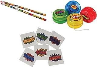 CVN Awesome 168-Piece Superhero Theme Party Favor Set / 12 Pencils / 12 Mini-YoYos / 144 Superhero Tattoos