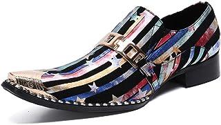 YOWAX Zapatos de Cuero de los Hombres del Metal del Dedo del pie Zapatos de Cuero Casquillo de la Manera del Modelo de Est...