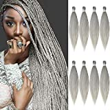 AQINBEL Pre stretched Braiding Hair 26 Inches -8 Bundles Itch Free Synthetic Fiber Crochet Twist Braids Yaki texture Braiding Hair Extensions (Silver#)